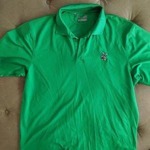 Under Armour green golf shirt.